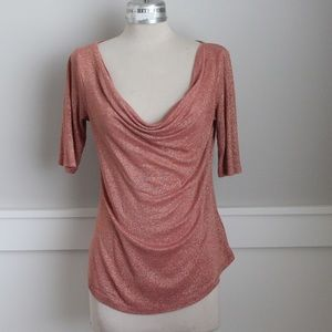 The limited orange cowl top with gold shimmer